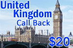 United Kingdom Call Back Card
