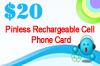 Click to see detailed information for  Pinless Rechargeable Cell Phone Card